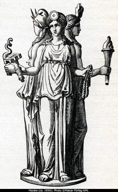 """""""Hecate is the goddess of pathways, Enodia, especially of cross-roads and of the offerings laid down there; the triple-form figure of Hecate arose from the three masks which were hung at the meeting of three pathways. The pathways of Hecate are pathways of the night; accompanied by barking dogs, she leads a ghostly retinue."""" ( Greek Religion by Walter Burkert)"""
