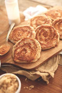 Vegan Yeasted CINNAMON ROLL pancakes! minimalistbaker.com