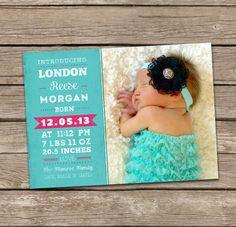 Birth Announcement : London Baby Girl Custom Photo Birth Announcement. $15.00, via Etsy.