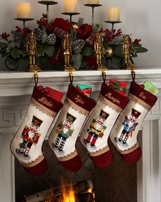 Needlepoint Nutcracker Christmas Stockings at Horchow.