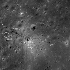 "Apollo 15 landing area. (Photo: LRO, NASA) The lunar rover is parked on one side of the lunar module Falcon, with some scientific experiments and a laser reflector on the other side.   Ian Ridpath, ""Exploring the Apollo Landing Sites"", http://www.bellaonline.com/articles"