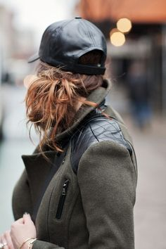Leather baseball caps with a side messy bun.