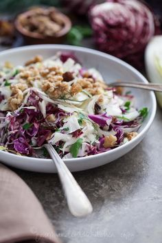 Red Cabbage Radicchio and Endive Salad with Walnuts from Gourmande in the Kitchen Red Cabbage, Radicchio and Endive Salad Recipe | A Winter Salad