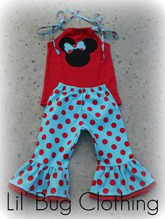 Custom Boutique Clothing Red and Teal Minnie Mouse Capri Set. $45.00, via Etsy.