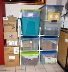 PVC storage-rack for the Garage.  You could also do something like this in the laundry room with the laundry baskets.
