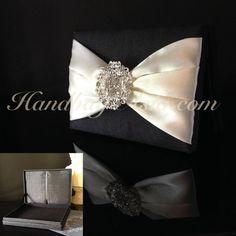 Black silk wedding invitation box in luxury look with rhinestone brooch
