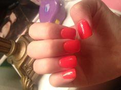 Bright orange/peach neon acrylic nails. | Nail Art and ...