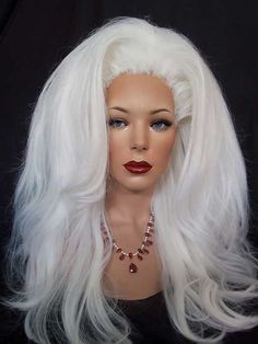 Drag queen styled white wig.  http://www.dragwigs.com/EBDR270809674854.html