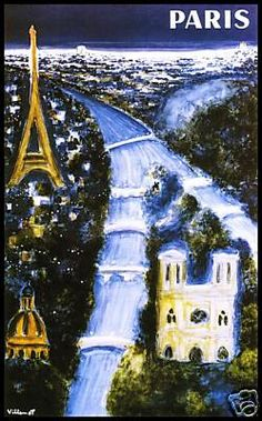 Paris (Blue) Villemot French Vintage Poster