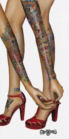 Heart Breaker By Bone Daddy. bodi art, heart breaker, tattoos, bones, tattoo babe, bone daddi, legs, ink girl, tattoo ink