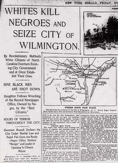 November 10, 1898 - Two days after the local elections in Wilmington, NC, the democratically elected and biracial government was overthrown by Democratic Party White Supremacists. Over 1,500 white men participated in an attack on the black newspaper, burning down the building. They ran officials and community leaders out of the city, and killed many blacks in widespread attacks. Although originally described as a race riot, it is now perceived as the only coup d'etat in US history.