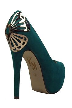 Butterfly Suede Pumps In Green