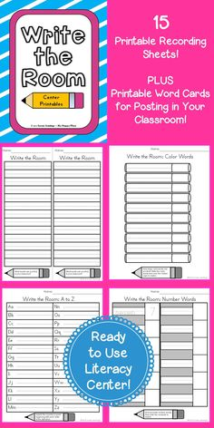 Write the Room Literacy Center! Includes 15 printable recording sheets and many word cards for posting in classroom. Great for Kindergarten and First Grade! $