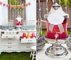 old dressers, wedding showers, bridal shower ideas, drink bar, drinks, event styling, drink stations, parti, bridal showers