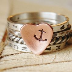 You Are My Anchor  - Personalized Stacking Ring Set -  Sterling Silver and Copper Heart  - Your Size