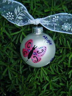 Butterfly Ornament - Personalized for Birthday or Mother's Day or Christmas - Handpainted Glass Ball