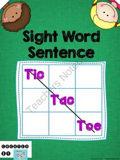 Sight Word Sentence Tic-Tac-Toe Game from WingedOne on TeachersNotebook.com -  (21 pages)  - Have students apply their knowledge of sight words by making sentences while playing Tic-Tac-Toe!