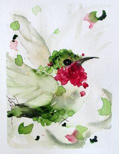 Hummingbird Watercolor Original Bird Art by RedbirdCottageArt, $50.00
