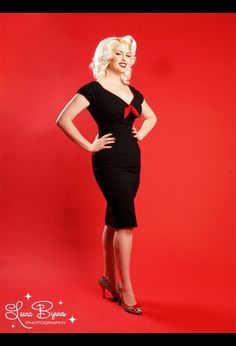 Natalie Dress in Black with Red Trim by Pinup Couture - Dresses - Clothing | Pinup Girl Clothing