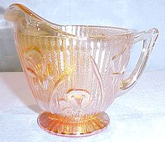 Iris iridized creamer by Jeannette Glass  Named Iris & Herringbone, one of my favorite dishes.