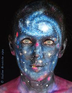 Cosmos and Stars, Face Painting, Body Art, 'Cosmos' 2015  by Sabine Brosche, Face Painting & Body Art Byron Bay and Beyond.