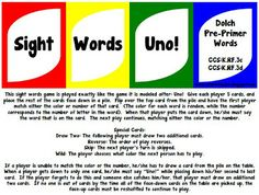 Fun Sight Words Uno Game--Free!