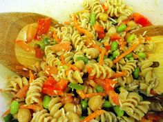 Healthy Pasta Salad & Creamy Garlic Dressing. Could Add Grilled Chicken or Homemade Italian Sausage.