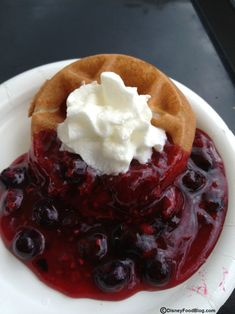 Disney Recipe: Belgian Waffle with Berry Compote and Whipped Cream #Disney #Recipe