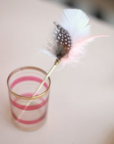 feather DIY Swizzle Sticks - thoughts on this? birthday parti, 21st idea, crafti schtuff, craft activities, dinner parties, feathers, parti idea, diy wedding, feather diy