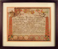 "Lehigh County, Pennsylvania ink and watercolor fraktur dated 1814 made for Marianna Diefenderfer, with central script surmounted by 2 obelisks and birds resting on tulip vines, signed lower middle ""Daniel B. Brenvogel"", 12"" x 16""."