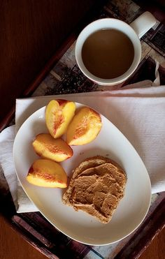 Coffee, Peanut Butter Toast and Peaches