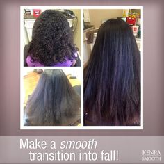 Kenra Smooth eliminates curl and frizz for smooth, shiny, more manageable locks this fall season!    Work by Amber Nichole. Top left before, bottom left blow-dried before, right after treatment.