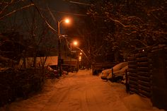 The back alley of a Toronto residential street at night after fresh snowfall.