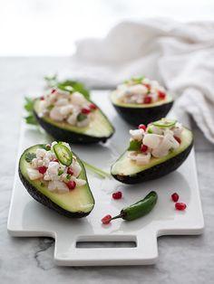 Shrimp and Scallop Ceviche Stuffed Avocado. // via. @Heidi Haugen Haugen Haugen Haugen Haugen | FoodieCrush // #avocado #scallops #shrimp #pomegranate # jalapeno