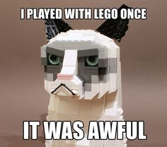 Played with Lego once geek, funni stuff, laugh, grumpi cat, legos, lego grumpi, baby cats, meme, grumpy cats