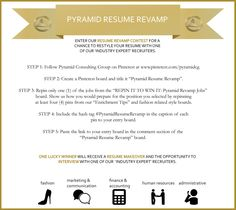 paste the link to your entry board in the comments section of this pin for a chance to win a resume makeover interview with one of our recruiters! #PyramidResumeRevamp official rules: https://www.facebook.com/notes/pyramid-consulting-group/pyramid-resume-revamp-official-rules/10151225868020893
