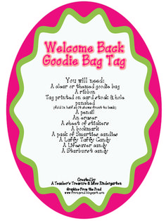 Use this goodie bag tag to create fun little welcome back to school goodie bags for your students to give out on the first day of school.