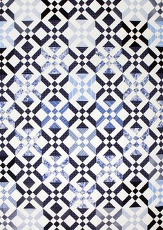 Bara blått och vitt exhibit of blue and white quilts - Mölndals stadsmuseum (Sweden).  Arrowhead block pattern.