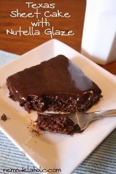 Healthier Texas Sheet cake with Nutella glaze recipe and Nutella Glaze frosting Recipe | remodelaholic.com #nutella #cake #recipe @Remodelaholic .com .com