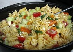 Rotini, tomato, cucumber salad