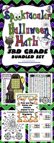 Spooktacular Halloween Math (3rd Grade): This set of 10+ Halloween games and activities make great center, individual, small group, or whole class activities! All activities are aligned to the Common Core Standards! $