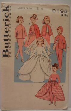 1950s 8 Doll Clothes Pattern Butterick 9195 by JeaniesShop on Etsy, $7.00
