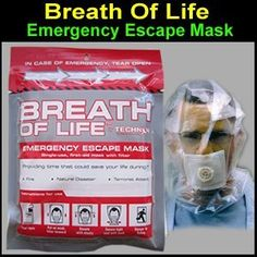 Emergency Escape Mask - Breath-Of-Life. 20 min protection against smoke, dust, biological and chemical compounds. Perfect for office workers in high rises. Gives you chance of survival in a fire.