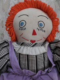 Primitive Folk Art Raggedy Ann Doll by BallentinesAntiques on Etsy, $125.00