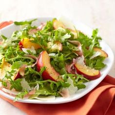 Nectarine & Prosciutto Salad  Sweet ripe nectarines pair with peppery arugula and a hit of salty Parmesan and prosciutto in this outstanding side salad.