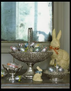Centerpiece with silver eggs.