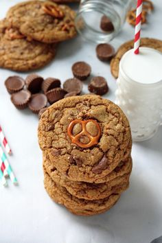 Brown Butter Salted Pretzel and Toffee Peanut Butter Cup Stuffed Cookies