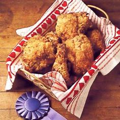 Picnic Fried Chicken ~   Dip chicken in buttermilk then coat with  • self rising flour  • salt  • pepper  • garlic powder  • onion powder  • paprika  • poultry seasoning  Fry in cast iron skillet! MMMM GOOD