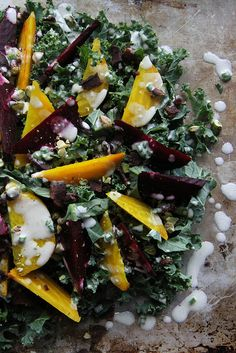 Kale + Beet and Bacon Salad with Goat Cheese Vinaigrette