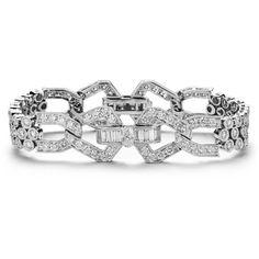 Blue Nile Deco-Style Diamond Bracelet in 18k White Gold (9.26 ct tw) ($18,000) found on Polyvore